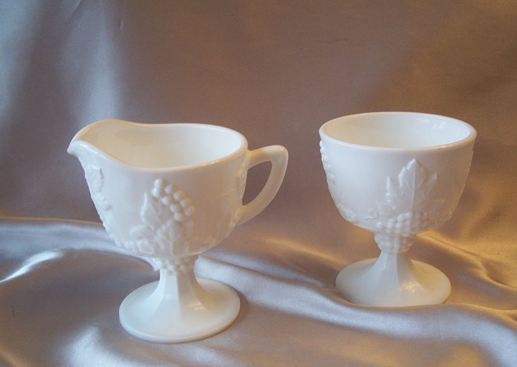 Indiana Harvest Milk Glass Creamer and Sugar