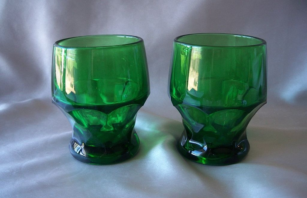 Two Dark Green Georgian  Glass Tumblers