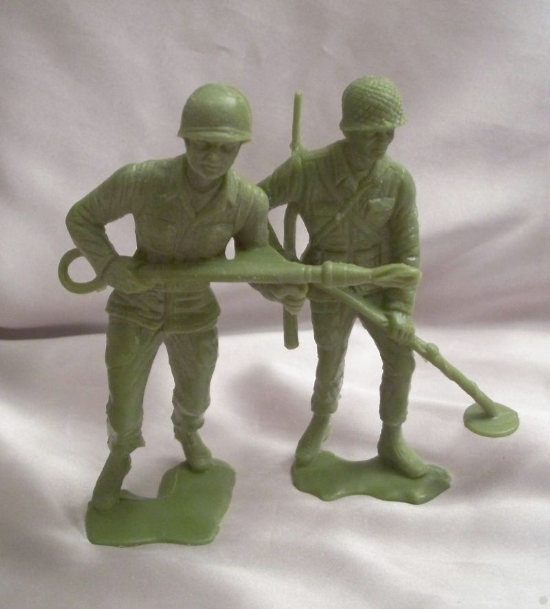 Two Vintage Green Plastic Toy Soldiers
