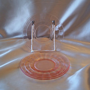 Three Pink Block Optic Sherbet Plates
