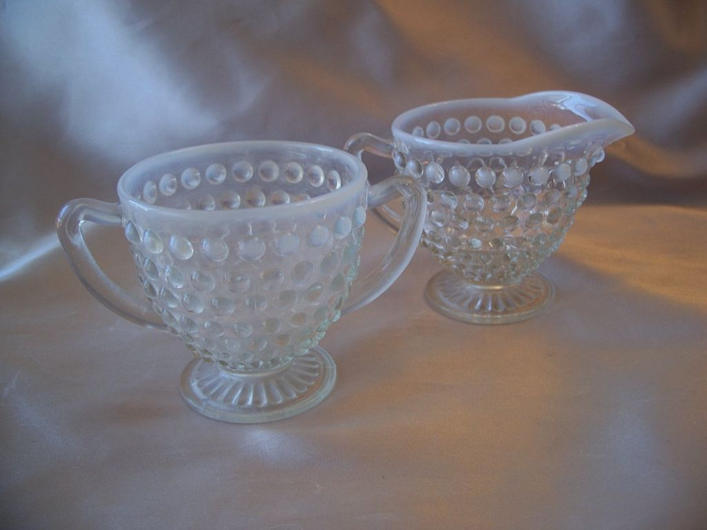 Opalescent Hobnail Moonstone Creamer and Sugar