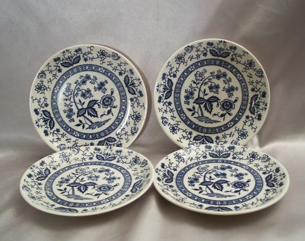 Four Vintage  Blue and White Bread Plates