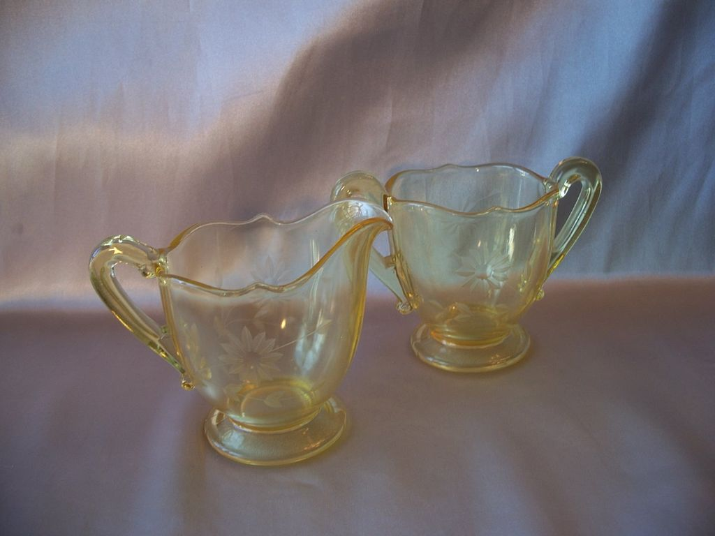 Yellow Lancaster Glass Jubilee Creamer and Sugar Set