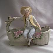 Made In Japan Porcelain Boy Figure Planter