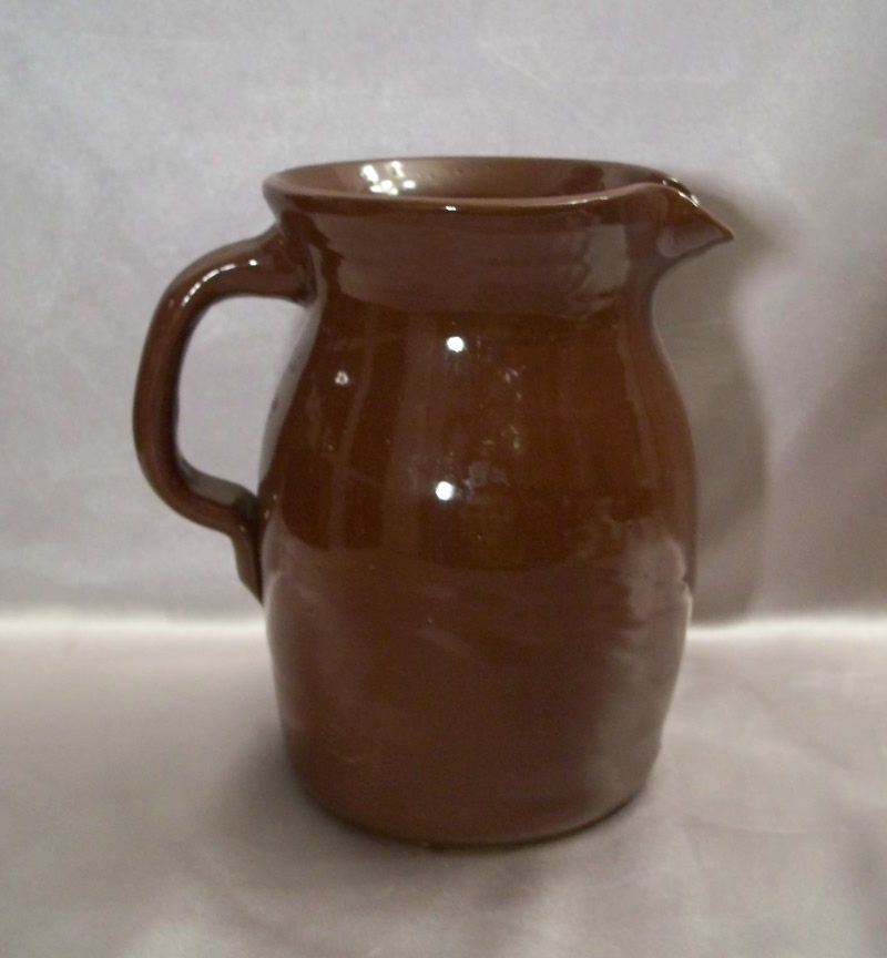 Chocolate Brown Glazed Pottery Pitcher