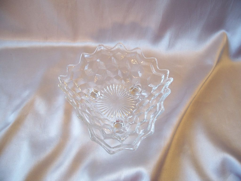 Crystal  Fostoria Glass American Three Toed Tri Corner