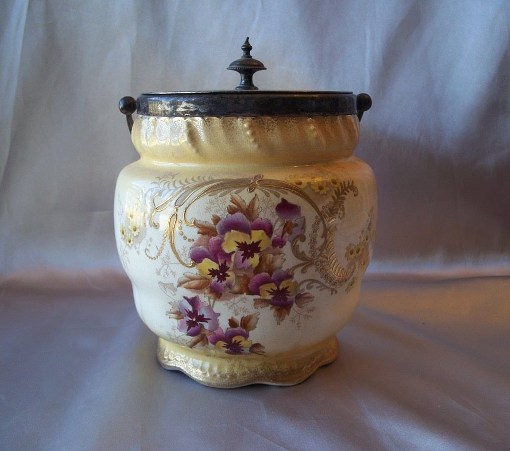 English Biscuit Jar With Lid