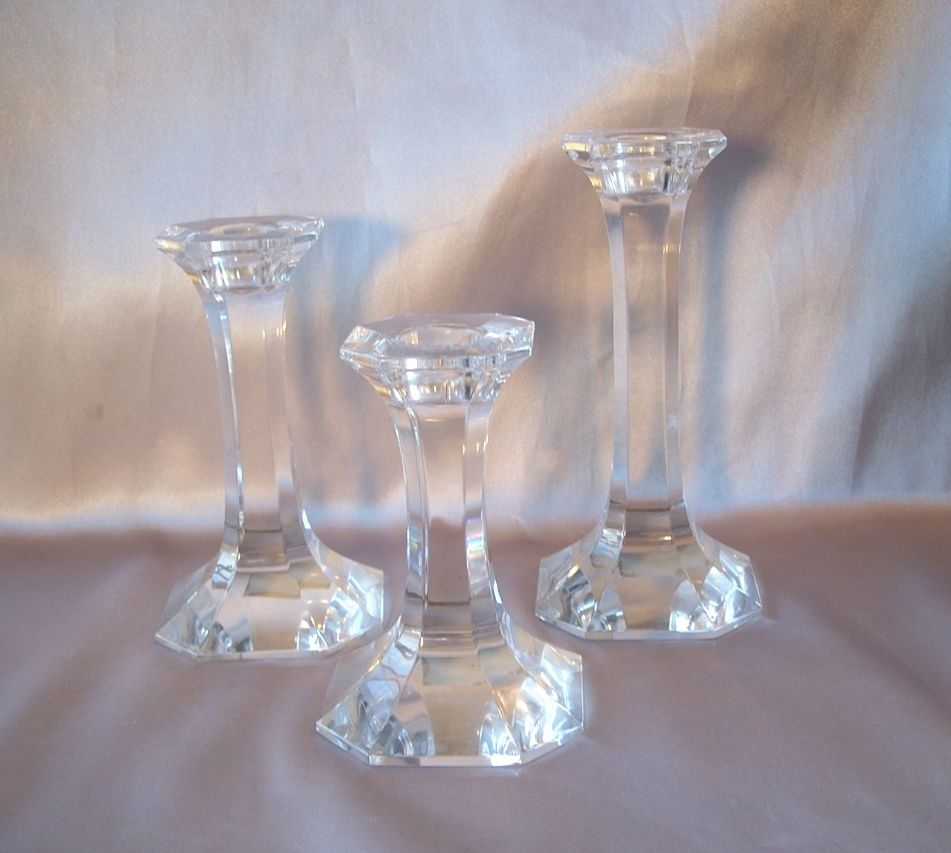 Set Of Three Lead Crystal Candle Holders