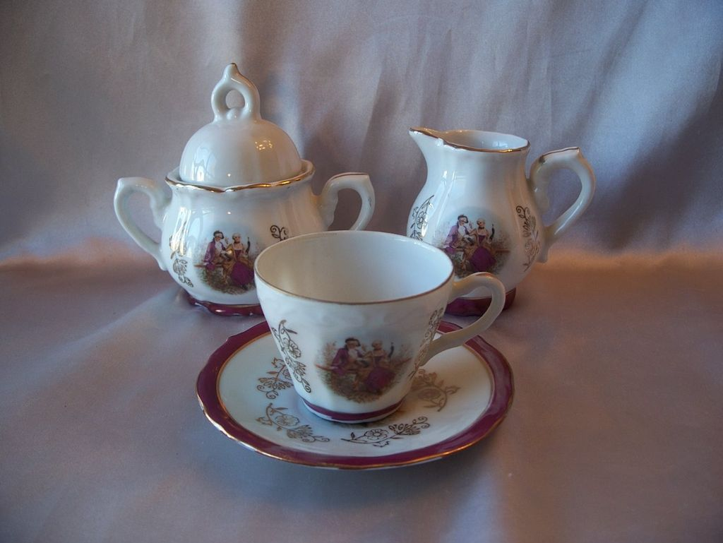 Beautiful Creamer Sugar Cup and Saucer Child's Set