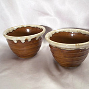 Two Western Stoneware Brown Drip Bowls