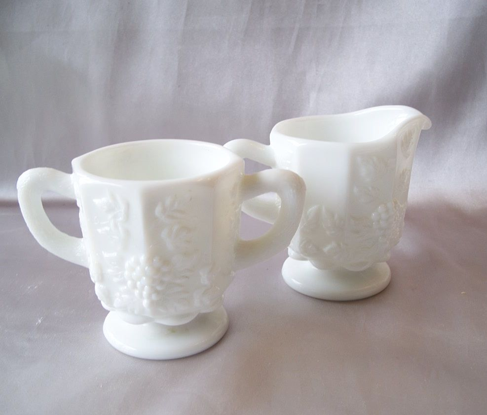 Westmoreland Paneled Grape Creamer and Sugar
