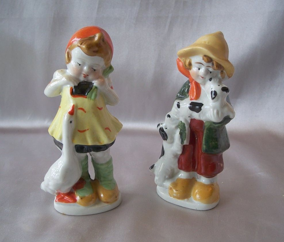 Two Ceramic Children Figurines Japan