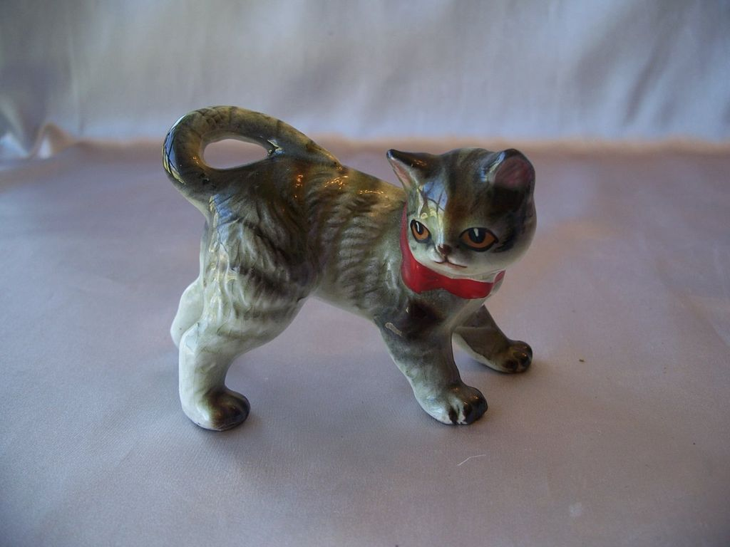 Standing Grey Cat Ceramic Figurine