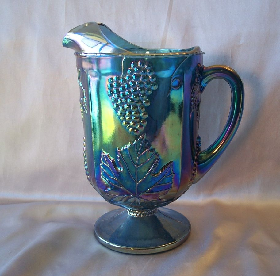 Indiana Glass Harvest Blue Carnival Pitcher From