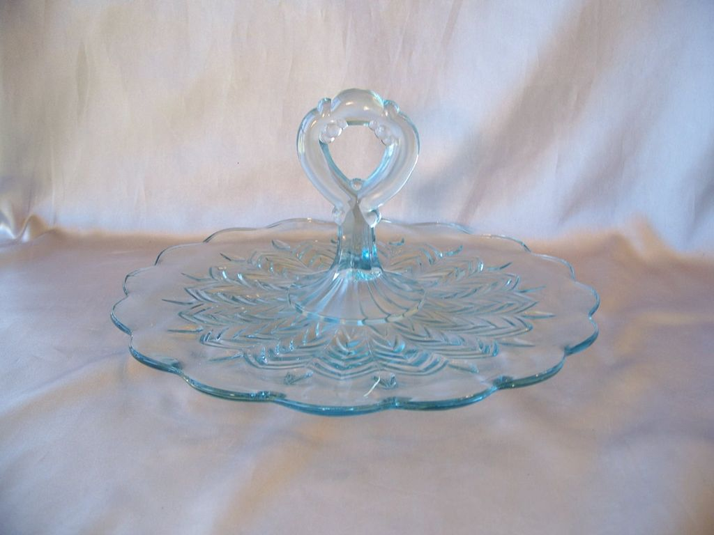 Vintage Light Blue Sandwich Server