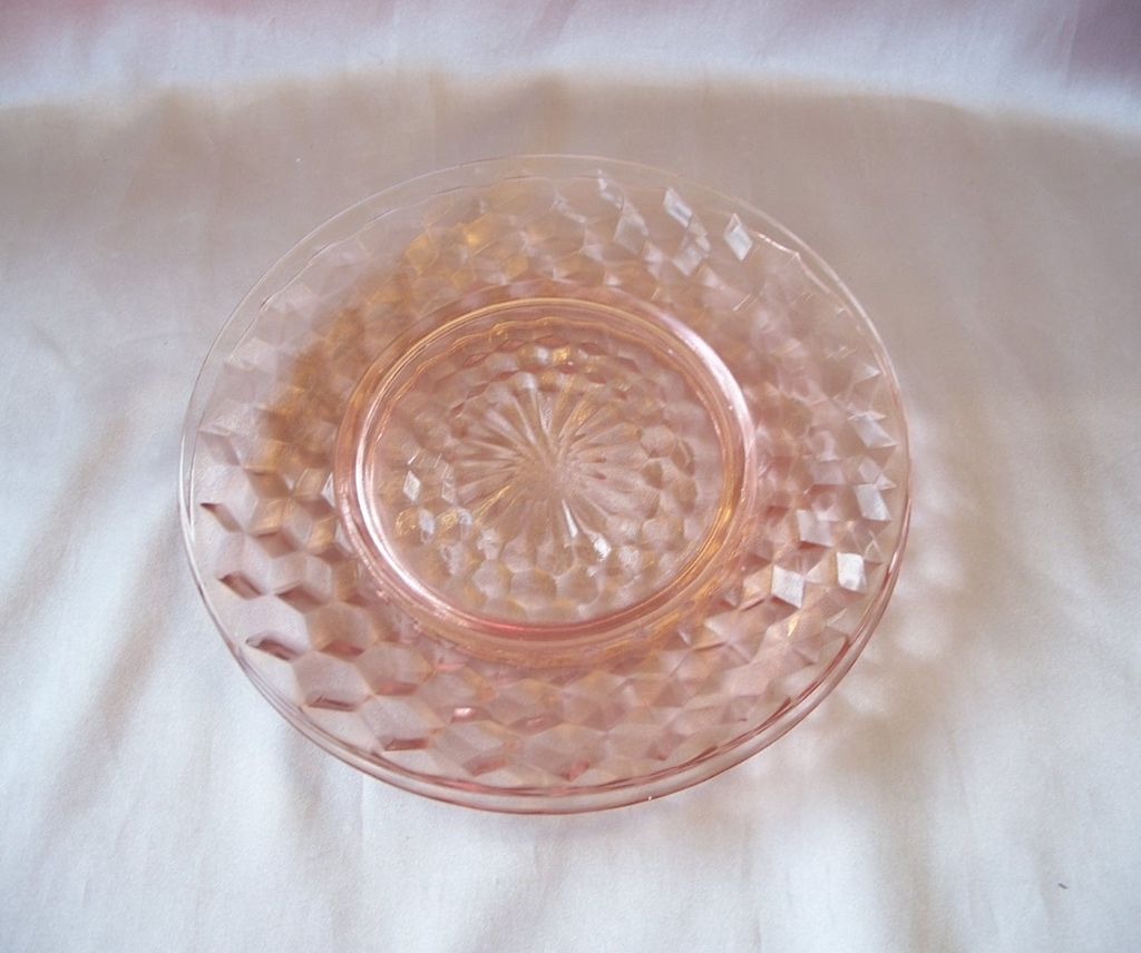 Two Jeannette Glass Pink Cubist Plates