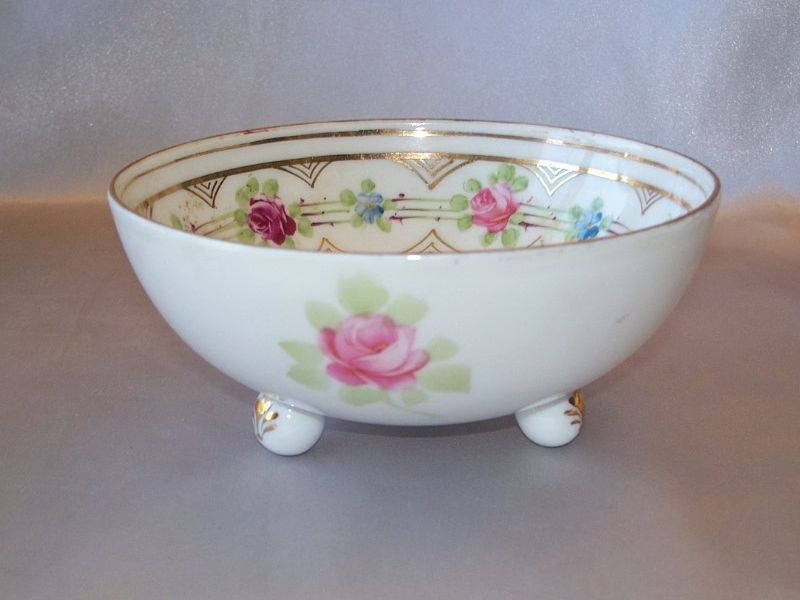 Nippon Footed Bowl With Hand Painted  Flowers