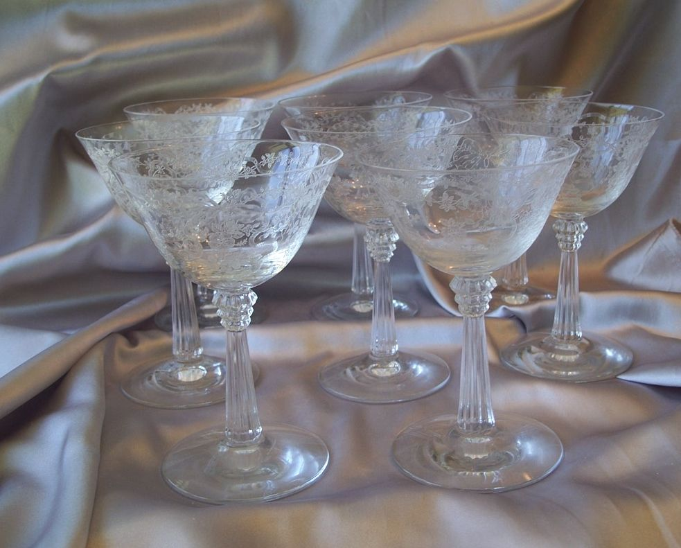 Eight Fostoria Glass Romance Tall Sherbets