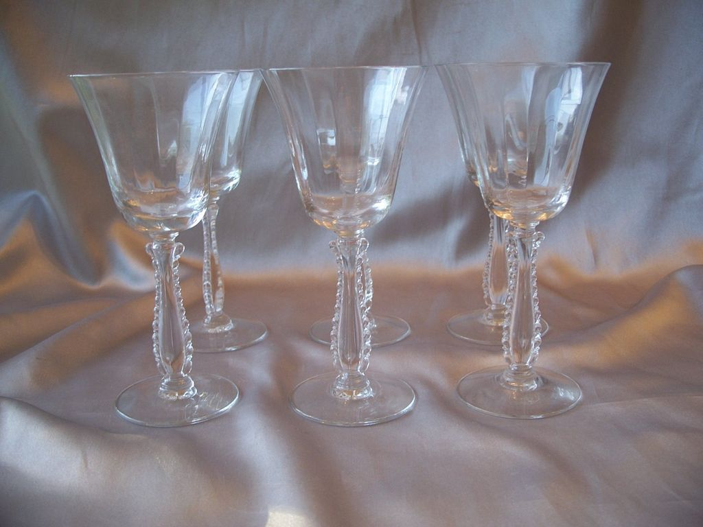 Six Fostoria Glass Crystal Silver Flutes Claret Wine Goblets