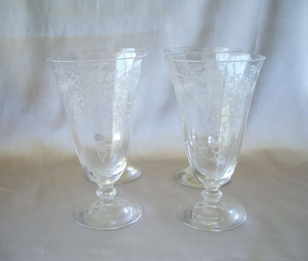 Four Fostoria Glass Crystal Corsage Tumblers