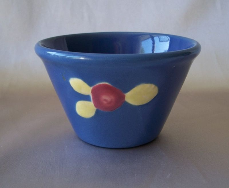 Coors Pottery Blue Rosebud Custard Cup