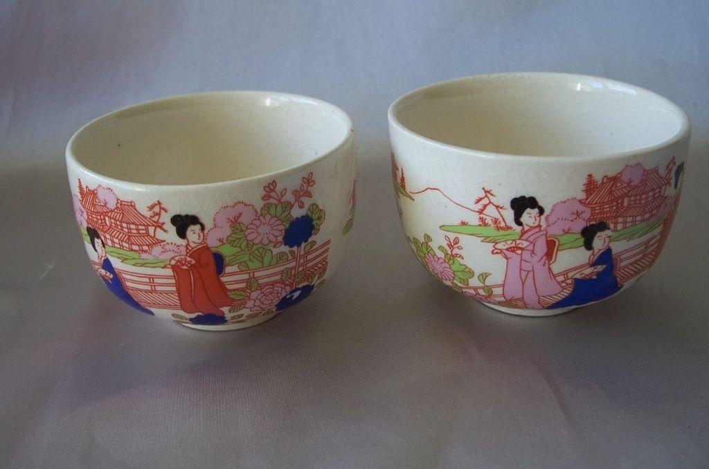 Two Japanese Ceramic Custard Cups
