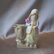 German Bisque Lady Match Stick Holder Figurine