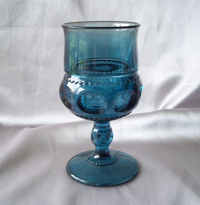 Indiana Glass Kings Crown Blue Goblet