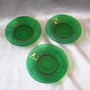 Hocking Glass Sandwich Forest Green Custard Liners