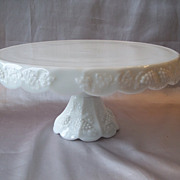 Westmoreland Milk Glass Paneled Grape Cake Stand