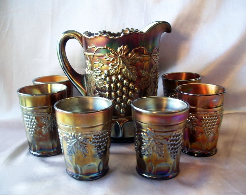 Northwood Glass Amethyst Pitcher And Six Tumblers