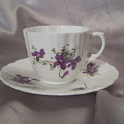 Hammersley Bone China Violet Cup and Saucer