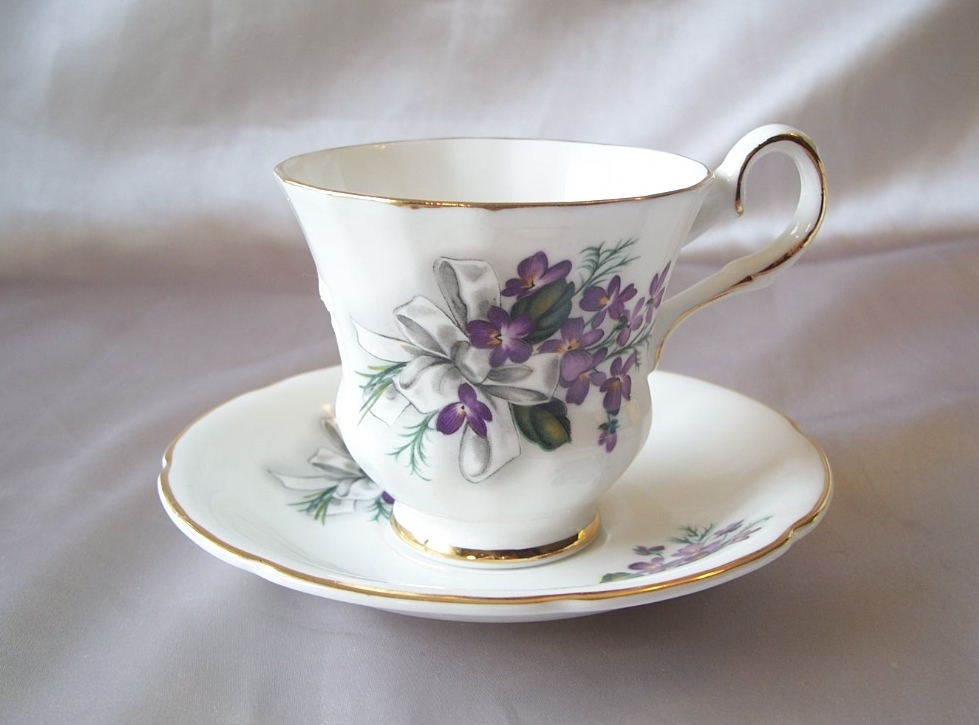 English Royal Grafton Bone China Violet Cup and Saucer