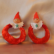 Two Vintage Christmas Elf Ornaments