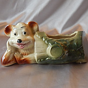 American Bisque Pottery Bear in a Log Planter