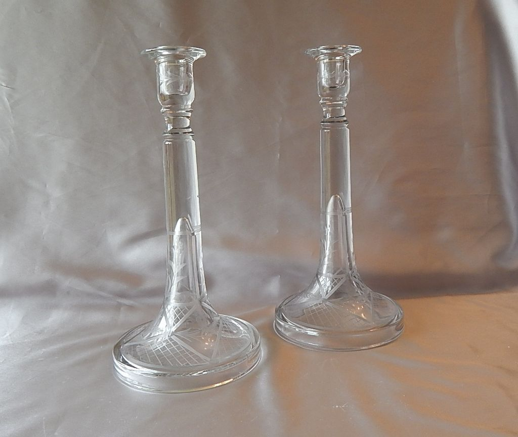 Crystal Etched  Taper Candlestick Holders