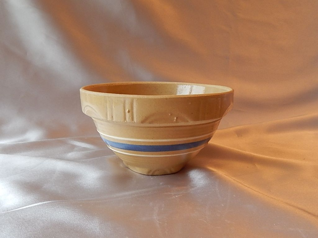 Yellow Ware Bowl with Blue Stripe