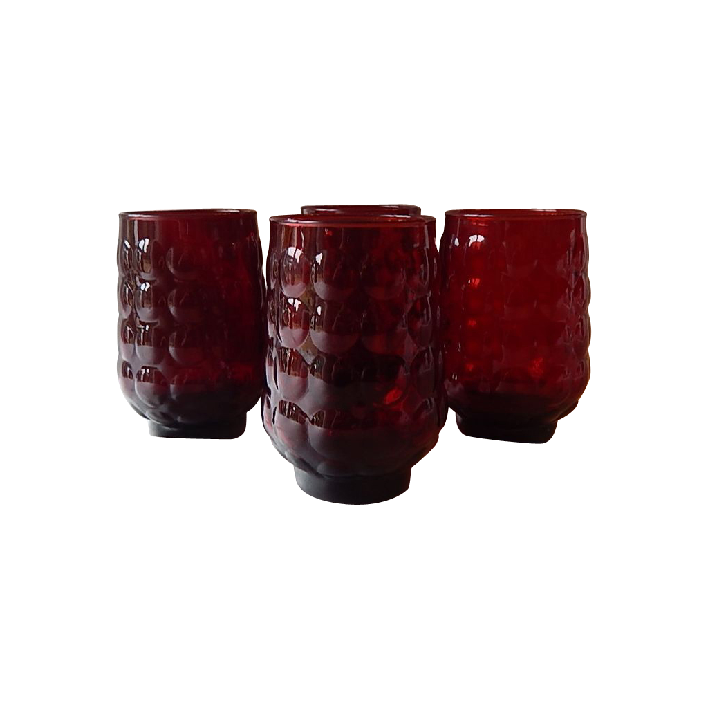Anchor Hocking Royal Ruby Bubble Tumblers  4