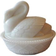 Westmoreland Milk Glass Swan Candy Dish
