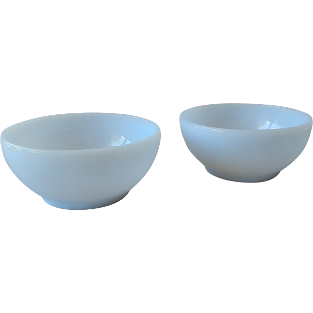 Two Fire King Turquoise Blue Cereal Bowls