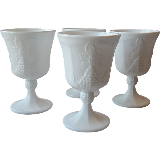 Four Indiana  Colony Harvest Milk Glass Goblet