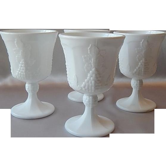 Four Indiana  Colony Harvest Milk Glass Goblet