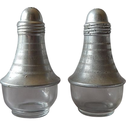 Aluminum & Glass Salt Pepper Shakers