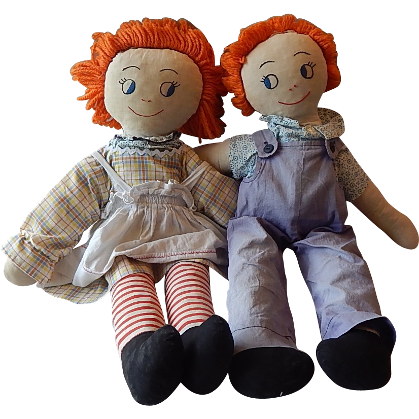 Two Early Handmade  Rag / Cloth Dolls