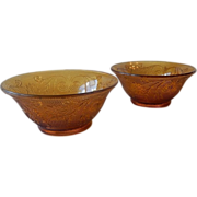 Two Indiana Tiara Exclusives Amber Cereal Bowls