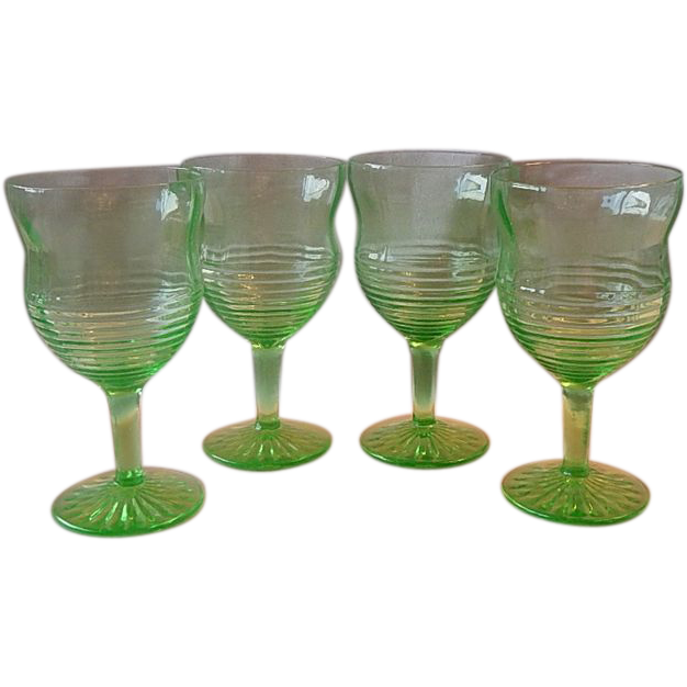 Four Green Depression Circle Hocking Goblets