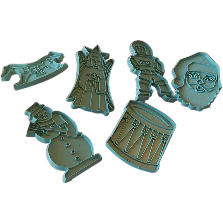 Six Turquoise Stanley Cookie Cutters