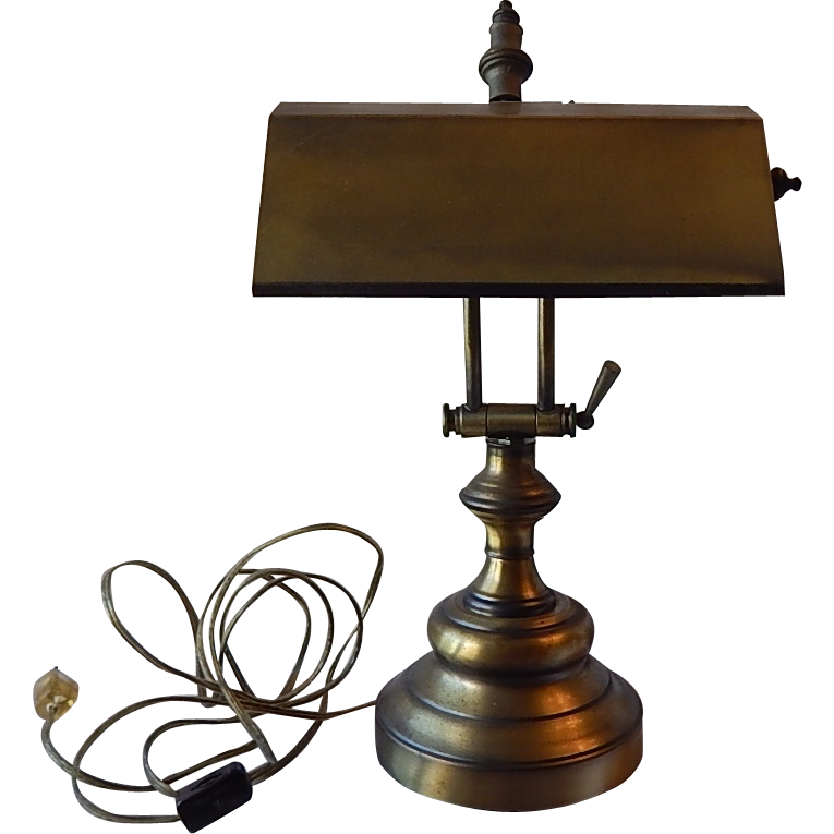 Piano Desk Lamp In Antique Brass Color