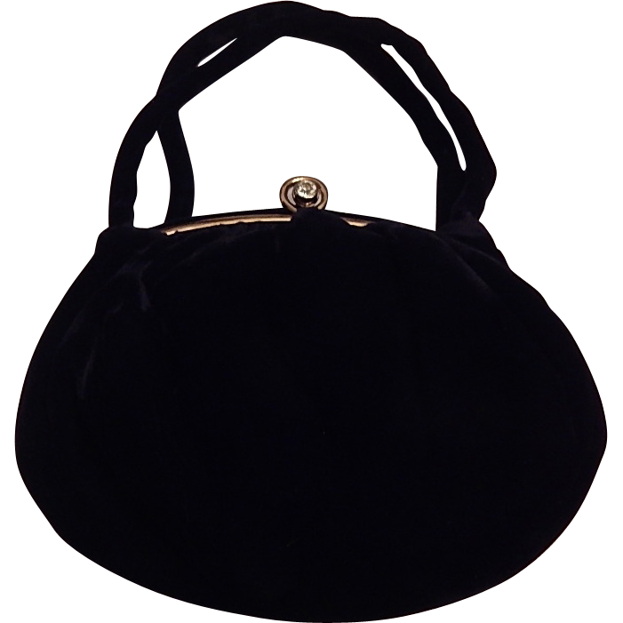 Julius Renick JR Black Velvet Handbag
