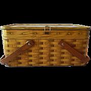 Basketweave Design Tin Picnic Basket
